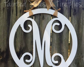 Monogram door hanger / letter door hanger / wooden / gift for her / wedding / home decor / door decoration / wreath / porch / front door