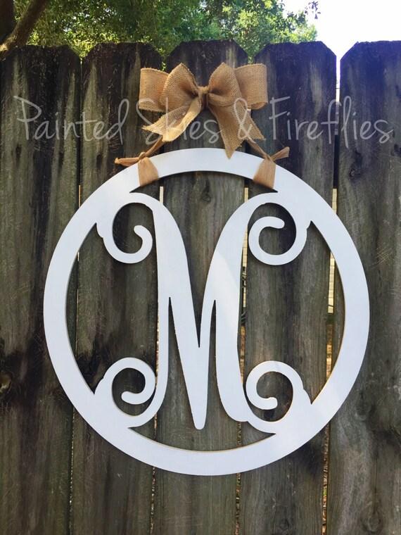 Monogram Door Hanger Letter Door Hanger Wooden Gift For