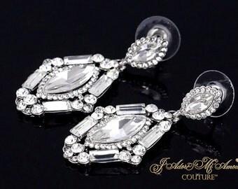 Silver Diamond Simulant Wedding Earrings, QUEEN J'ADORE Silver Vintage Crystal Bridal Earrings, Wedding Earrings, Wedding Jewelry,Art Deco