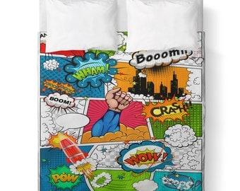 Duvet Cover - Comic Book / Boys Room/ Comics/ Superhero/ Comforter cover/ King duvet cover, Queen duvet cover, Twin duvet cover /bedding/