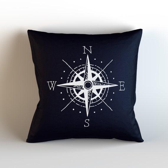 Nautical Design Throw Pillows : Nautical Compass / Decorative Throw Pillow with optional