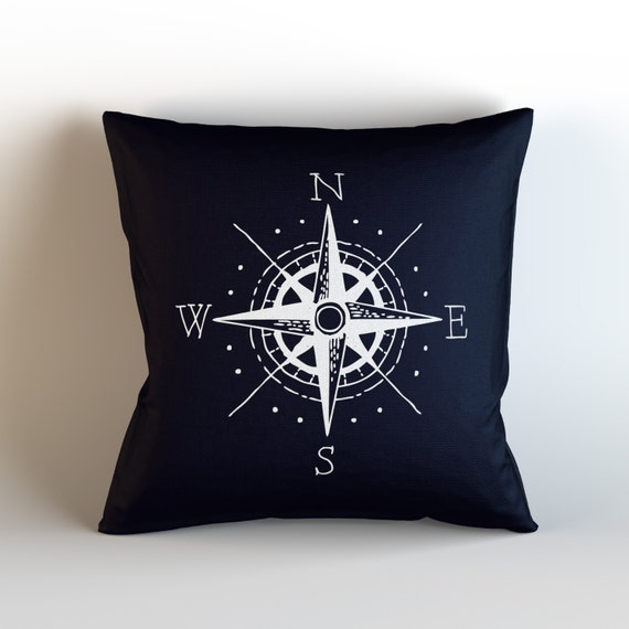 Nautical Compass / Decorative Throw Pillow with optional