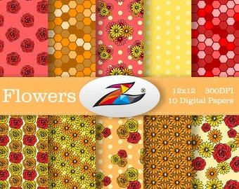 Sale Flower digital paper Red orange yellow Flower Pattern Floral Digital Paper Commercial Use Floral background scrapbook paper