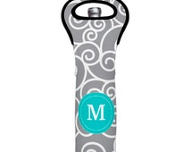 Gray Teal Swirls Monogram Wine Tote Insulated Wine Tote Bag,Monogrammed Wine Tote Bag Wedding Wine Tote Gift, Bachelorette Party Tote Bag