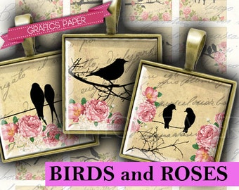 Birds Tiles on the wire tiles roses - digital collage sheet 1 inch tiles, 30mm 25mm 20mm - Printable Square, Image Pendant, Necklace - QD125