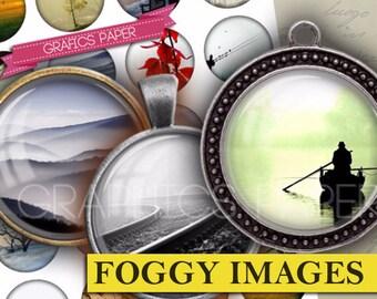 """Images of nature, fog, foggy images Printable Digital Collage Sheet - td259 - 1.5"""", 1.25"""", 30mm, 1 inch - Images Pendants Instant Download"""