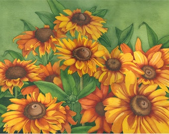 Watercolor painting...TIGER EYES...Rudbeckias...giclee