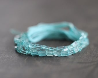 Apatite, Rectangle, Cubes, Full Strand, 13 inch Strand, Gemstone, 4mm, 6mm, Luxe, Faceted, Gemstone Strand, Supplies, Teal Blue