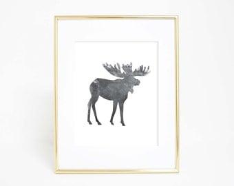 Printable Wall Art, Moose Print, Forest Art Print, Black and White, Wall Print, Digital Prints, Downloadable Print, Woodland Nursery Art