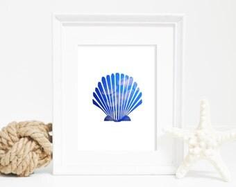 Shell Print, Coastal Art, Wall Decor, Scallop Wall Art, Jellyfish, Digital Print, Instant Download, Printable Art, Home Decor, Printable Art
