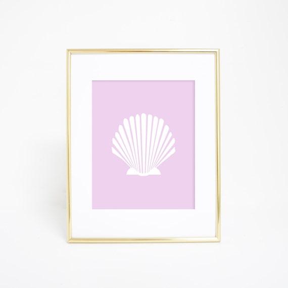 Scallop Print, Lavender Purple, Seashell Printable, Sea Shell Scallop, Baby Decor, Nursery Artwork, Minimalist Prints, Digital Print