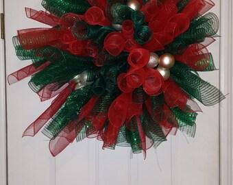 Red/Green Lit Mesh Christmas Wreath/Christmas Decor/Christmas Home Decor/Custom Christmas Wreath