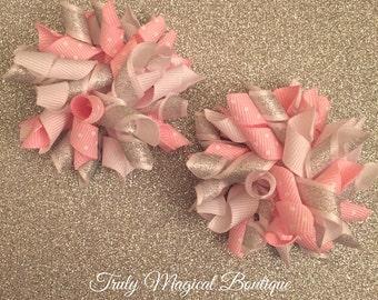 Pink and White Hair Bows | Hair Bows | Hair Bows for Girls | Korker Hair Bows | Korker Hair Bow Set | Hair Clips