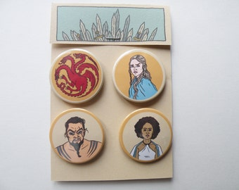 Game of Thrones pin badges / Daenerys Targaryen, Khal Drogo, Missandei and the Targarian shield