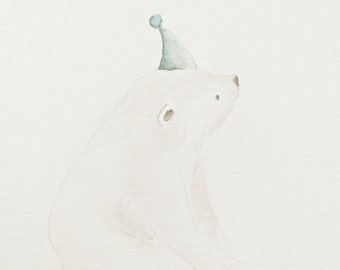 polar bear watercolor - original 8x10painting
