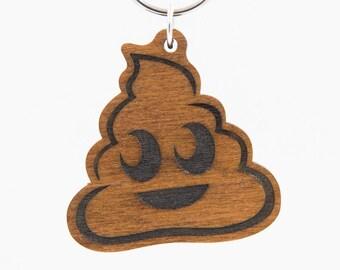 Poop Emoji Keychain - Wooden Engraved Charm - Pile of Poo Emoji Carved Wood Key Ring