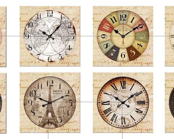 Clock Face Vintage Digital Collage Sheet by AlbatrossCreation