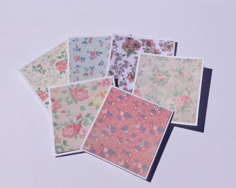 Mini cards, flower cards, floral gift cards, thank you cards, note cards, any occasion, set of 6