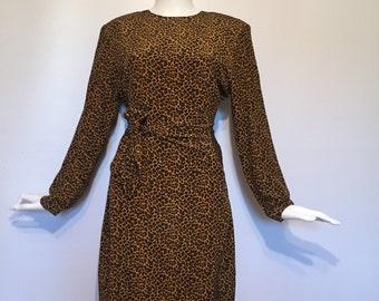 Bloomingdales 80s Leopard Print Dress