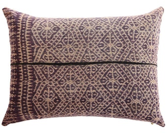Vintage Ikat Pillow - Black / Aubergine / Ecru