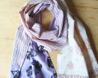 Shabby Chic Patchwork Cat Scarf Shawl Wrap. Pink, Floral Rose, Purple Pastel. Birman Ragdoll Cat. Upcycled Wearable Art. One of a kind.