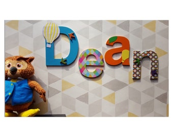 Nursery decor baby name wooden letters wall decor