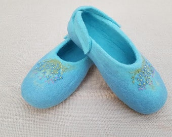 Light blue felted warm wool slippers