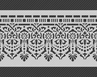 Reusable Traditional Border Stencil, Horizontal Seamless Repeat Pattern. SKU: S0115