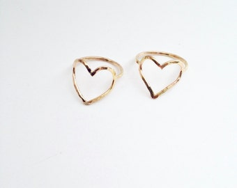 Heart Ring Gold filled Open Heart Jewelry - Open Heart Ring - Heart Thumb Ring - Hammered Heart Ring - Gift Idea for Her