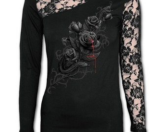 Womans TOP Lace One Shoulder And Arm BLACK ROSE Blood Gothic Alternative
