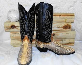 Mens LARADO Vintage Exotic Snakeskin & Leather Western Cowboy Boots 8.5 D- Barely Worn
