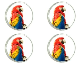 Scarlet Macaw Parrot - Set of 4 Round Acrylic Coasters