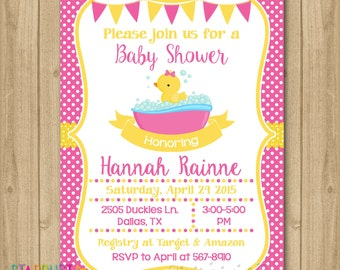 Rubber Duckie Baby Shower Invitation, Rubber Duck Baby Shower, Rubber Duck Invitation, Rubber Duck Chalkboard Invitation