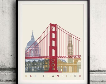 San Francisco skyline poster 8x10 in. to 12x16 in. Fine Art Print Glicee Poster Gift Illustration Artistic Colorful Landmarks - SKU 1143