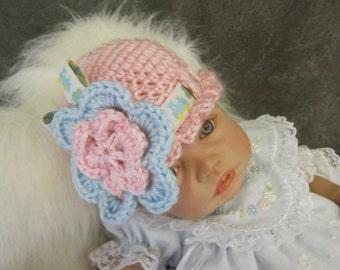Ooak,Crochet Baby Hat, Newborn Photo Prop,Pink,Blue,Crochet Flower,Girls,Accessory,Hats and Caps,Skull Cap