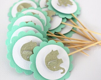 12 x Elephant Cupcake Toppers; girl baby shower, birthday, mint & gold
