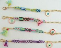 WHOLESALE BOHO BRACELET! 25 cotton Friendship bracelets, many colours available! Boho bracelet, friendship bracelet, evil eye bracelet,