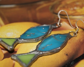 Fish Earrings/Vitro earrings/Dangle earrings/OOAK