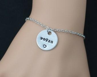 vegan bracelet, sterling silver filled, hand stamped bracelet, vegan jewelry, veganism, vegetarian bracelet, sister birthday, adjustable
