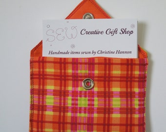 Business Card Holder / Gift Card Holder / Credit Card Holder / Mini Wallet / Card Organizer - Orange Plaid Fabric with Yellow & Red Accents