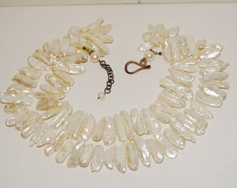 Vintage Sterling Individually Knotted HUGE White Freshwater Biwa Pearl Necklace.