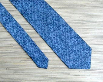 CALVIN KLEIN Men's Silk Tie Vintage Men's Necktie Blue Pure Silk Necktie Made in Italy 100% Silk