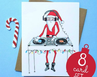 Christmas Card Set, Funny Christmas Card Set, Christmas Card Pack, DJ Santa Christmas Cards, Santa Christmas Cards