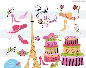 Traveling to Paris Clipart, PNG Image, DXF & SVG, Vintage Suitcases Clip Art, Digital Eiffel Tower, Women Hats, High Heels,  Download  C014