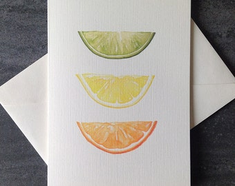 Fruit Watercolour card set. Free shipping to Canada/US!  Textured linen greeting cards.