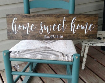 """Home sweet home sign, personalized with date 7 3/4x28"""", rustic, home decor, calligraphy personalised wedding, housewarming, Christmas gift"""