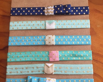 FOE headbands/newborn/3-9months/chevron/bows/gold dots