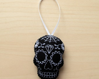 Black sugar skull embroidered felt hanging decoration