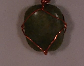 Jade Gemstone Copper Wirewrapped Pendant with Leather Cord and Toggle Clasp