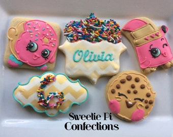 SHOPKINS Sugar Cookie Party Favors // Personalized Name and age // Kooky Cookie // D'lish Donut // Lippy Lips // Customize your order